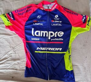 LAMPRE MERIDA Replica Cycling jersey with bib shorts and arm warmers. Used.
