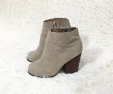 Jeffrey Campbell Hanger Grey Taupe Suede Stacked Heel Ankle Boots Booties Sz 7.5