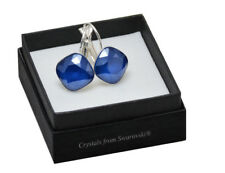 Silver Plated Earrings SHEENA *ROYAL BLUE* 12mm Crystals from Swarovski®