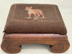 Charming Antique Victorian Footstool with Needlepoint Terrier Dog Cover