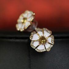 Boucles d`Oreilles Email Fleur Blanche Marguerite Original Mariage Cadeau NN 2