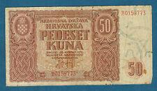 CROATIE - 50 KUNA Pick n° 1. du 26-5-1941. en TB   B0159773
