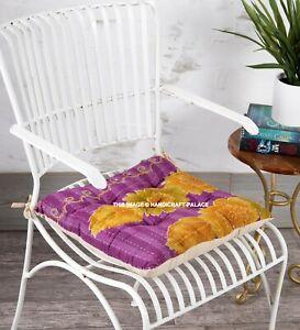 "16"" Chair Seat Cushion Pad Thicken Patio Yoga Kantha Indian Meditation Floor Mat"