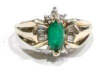 Lab Creared Emerald & Genuine Diamonds 10k Gold Ladies Ring Size 7