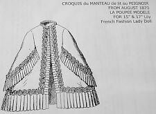 LA POUPEE MODELE PATTERN~MANTEAU DE LIT OU PEIGNOIR FOR FRENCH FASHION LADYDOLL