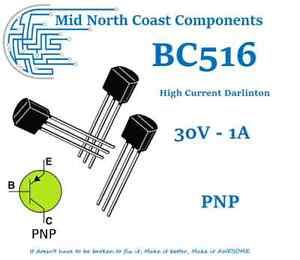 2/5/10pc BC516 30V - 1.0A - 625mW PNP High Current Darlington Transistor TO-92