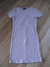 LADIES CUTE DUST PINK RIBBED SHORT SLEEVE DRESS BY FOREVER 21 - SIZE M - 6/8