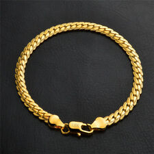 Fashion 18K Gold Plated 5MM Flat Chain Necklace Bracelet Women Unisex Jewelry