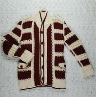 Vintage Handmade Crochet Women's Grandfather Chunky Sweater Jacket Coat Sz S/M
