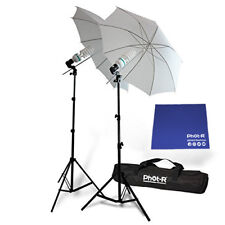 "Phot-R 2x 1250W Bulbs 33"" Studio Umbrella Continuous Light Stand Chamois Cloth"