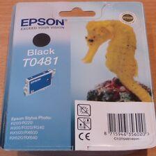 Genuine Epson T0481 TO481 NERO CARTUCCIA VUOTO SIGILLATO ORIGINALE CAVALLUCCIO MARINO inchiostro