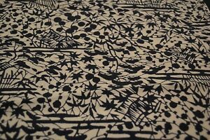 Japanese Silk Fabric Off White with Black Maple and Garden Design 1407