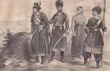 Gravure Costumes Polonais XVIIe siècle Pologne Garnitur Polaków w XVII wieku