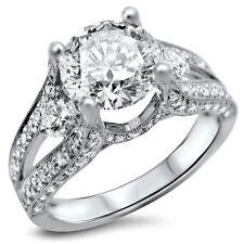 3.34 Ct White Round Diamond Ring 925 White Silver Engagement Ring New !