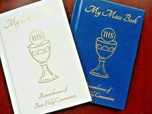 1st First Holy Communion Missal Prayer book. 122 pages White / Blue faux leather