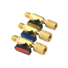 "3pcs R410a HVAC A/C Manifold Straight SHUT-OFF Ball Valve 1/4"" SAE Adapter Brass"
