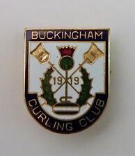 Vintage Buckingham Curling Club Gatineau Buckingham Quebec Enameled Pin Est 1919