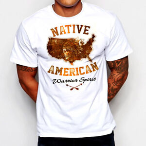 Native American T-Shirt Indian Chief Warrior Skull Western Apache Feathers new