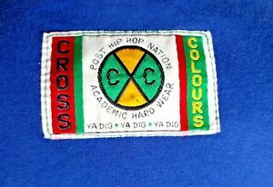VTG 90s CROSS COLOURS USA Blue YA DIG T-Shirt Spell Out Embroidered O/S