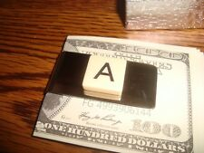 """"""" A """" MONOGRAM INITIAL faux Ivory Stainless Steel-Metal Money Clip wGift Box"""