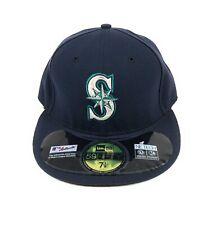 Seattle Mariners MLB NE TECH Navy Blue New Era 59Fifty Flat Fitted Hat Cap 7 1/8