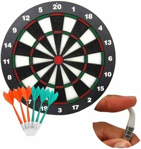 16 Inch Safety Dart Board for Kids Rubber Dart Board Set 6 Soft Tips Safety Dart