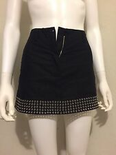RARE New Alaia Metal Grommet Black Cotton Shorts-Skirt 36 XS/XXS