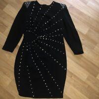 Ladies Fabulous Marlene Birger Evening Dress Long Sleev Uk12/14 Black Sparkle Wo