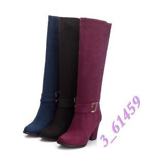 Europa Damen Kniehohe Stiefel Hohe Blockabsatze Schnalle 3 Farbes Gr34-48