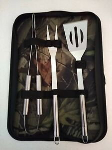 3 PC Stainless Steel BBQ Tools Set with Camo Case