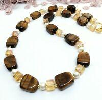 Halskette Tigerauge braun creme gold Würfelkette Glas Perlen Halbedelstein 50cm