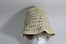 Natural Reflections Crocheted Bucket Hat Multi Color Beige One Size S/M/L