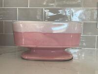 Vintage MCM Ceramic Pottery Pedestal Planter Pink White Drip Glaze Handmade
