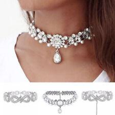 Collares y colgantes de bisutería gargantillas color principal plata de cristal