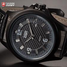 SHARK ARMY Military Date Analog Leather Band Sport Quartz Men's Wrist Watch Grey