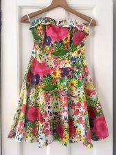 Topshop Neon Floral Strapless Dress 8 Corset Boning Short Mini Flare Skirt Pink