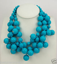 Kenneth Jay Lane 3 row turquoise cluster drops necklace w/gold clasp