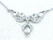 VTG BOGOFF Silver Tone Art Deco Style Clear Rhinestone Choker Necklace
