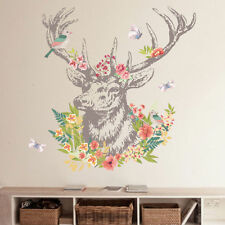 Vintage Colorful Flower Deer Bird Wall Sticker Living Room Decal Gift Home Decor