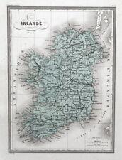 IRELAND NORTH & SOUTH Original  Antique Hand Coloured Vintage Map c 1840