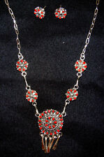 Zuni Necklace & Earrings Set by TRUDY QUETAWKI Sterling Silver with Coral