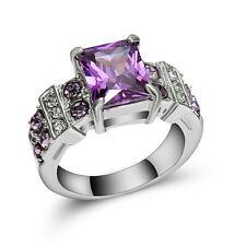 Princess Cut Purple Amethyst Wedding Ring white Rhodium Plated Jewelry Size 8
