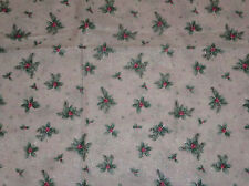 Holly Leaves Berries Fabric Pale Pink Glittery 2/3 Yard Cotton Silver Stars 24""