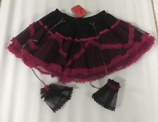 Gothic Tutu Lolita Black Skirt With Pink Trim Chain And Cuffs