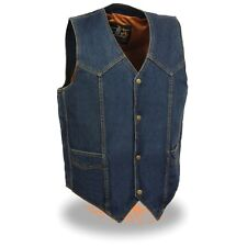 Milwaukee Leather Men's Classic Snap Front Denim Biker Vest-DM1310(BLUE)&(BLACK)