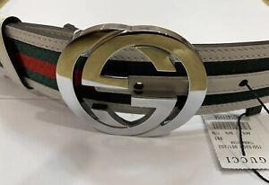 New Authentic Web Gucci Belt 90 cm fits 30/32 waist New w/tag's & Dust Bag