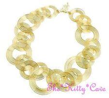 Selten Kitsch Gold Überzogen Spiral Draht Kreise Geometrischer