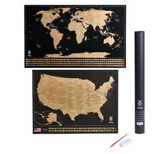 Scratch Off World Map + Bonus USA map-large Size and unique design world poster