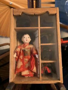 Antique MINI Japanese Geisha Doll*5 Styled Human Hair Wigs*Glass Display Box*Exc