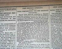 BROOKLYN BRIDGE Cable-Stayed Suspension NY Construction COMPLETED 1883 Newspaper